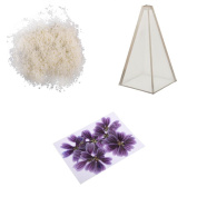 MagiDeal 1 Set Pyramid Shape Candle Mould + 500g Soy Wax + 10pcs Dried Flower Candle Making Kit