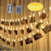Looyat LED Photo Clip String Lights - 40 Photo Clips 5M Battery Powered LED Picture Lights for Decoration Hanging Photo , Notes, Artwork