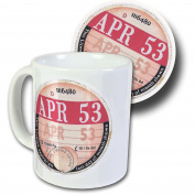 April 1953 Road Tax Disc Mug & Coaster Set, Boxed - 65th Birthday Gift