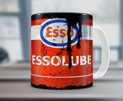 Hiros®Esso oil inspired Gift 11z Tea / Coffee mug Motorcycle Car Mechanic Gift Idea , Birthday Gift , Christmas Gift .