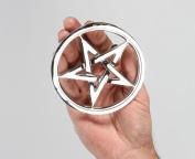 10cm Diameter Small Polished Bright Chrome Pentagram Trivet