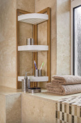 MDL 3 TIER BATHROOM FREE STANDING CORNER CADDY TIDY ORGANISER -BAMBOO
