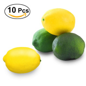 WINOMO 10pcs Artificial Fruit Lemon Yellow Green Fake Lemons Decoration