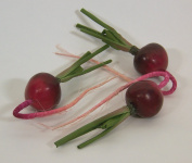 Designer Decorative Two (2) Artificial Faux Fake Red Radish Vegetable