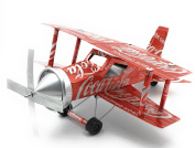 Handmade WWII Aeroplanes - Built with Coca-Cola Aluminium Cans and Recycled Materials - 28cm long BIplane model