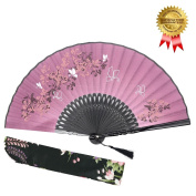 "Hand Held Folding Fan for Women - OMyTea ""Leaf Butterfly"" Chinese Japanese Oriental Asian Style - for Wedding, Dancing, Church, Party, Gifts"