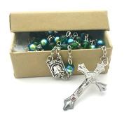 Sunburst Green Evil Eye Rosary - Stunning Traditional Christian / Catholic Gift Prayer Beads in Nondenominational Gift Box - Rosario Verde