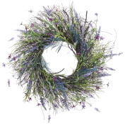 60cm Lavender, Fern, Spring Flowers and Wild Grass Wreath On Twisted Vine Base- Outdoor, Indoor Use