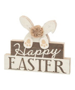 Happy Easter Bunny Tabletop Sign Decoration - Rustic Farmhouse Style Holiday Decor in Neutral Cream and Wood Tones