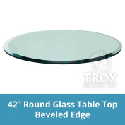 TroySys Tempered Glass Table Top, 1.3cm Thick, Bevelled Edge, Round, 110cm L