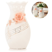 Large White Ceramic Flower Vases,10.6'' Oval Tall Decorative Vases with Handmade Porcelain Pink Flowers for Living Room, Kitchen, Table, Home, Office, Wedding, Centrepiece or as a Gift