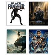 Black Panther (2018) Movie Poster Prints - Set of Four Avengers Marvel Comics Wakanda Decor Wall Art Photos 8x10
