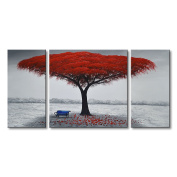 Winpeak Art Chair Under Red Tree Framed Hand-painted Modern Oil Painting Landscape Wall Art Abstract Picture Home and Outdoor Decoration Contemporary Canvas Artwork