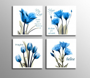 Blue Flower Wall Decor for Living Room Bedroom Bathroom 4 Panles Stretched and Framed Ready to Hang 41cm x 41cm