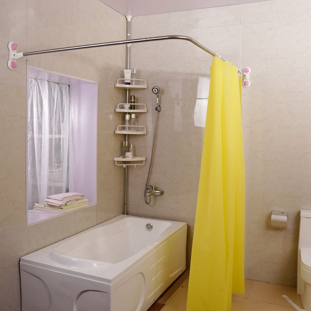 Baoyouni Curved Shower Curtain Rod Suction Cups L Shaped Corner Bath