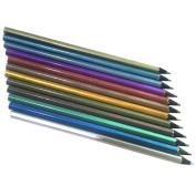 ZHOUBA 12x Metallic Non-Toxic Coloured Drawing Pencils 12 Colouring Drawing Sketching Pencil