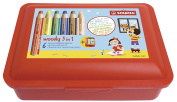 To Paint & Wax Crayon with Storage Box – Stabilo WOODY 3-in-1 Colouring Pencils – 6 pack with Sharpener and Box – 6 Colours