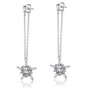 NACOLA Fashion Silver Zircon Long Dangle Earring Ear Wire For Women Girls Gift