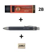 KOH-I-NOOR 5359 5.6mm Diameter Mechanical Clutch Lead Holder Pencil - Black + Koh-I-Noor 6 Gioconda 5.6 mm Graphite Leads. 4865/2B . Eraser Jueli