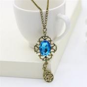 NACOLA Fashion Vintage Hollow Blue Gem Drop Pendant Necklace For Gift