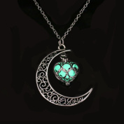 NACOLA Fluorescent Necklace,Fashion Luminous Hollow Moon Love Heart Pendant Necklace For Gift,Green