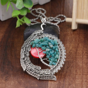 NACOLA Fashion Hollow Moon Peacock Stone Tree Of Life Pendant Necklace For Gift