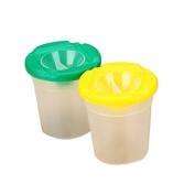 A-goo Set of 2pcs Plthestic Round Assorted Colour Spill Proof No Spill Ptheint Cups