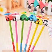6PCS Creative wood pencils, small car series,HB ,design is random