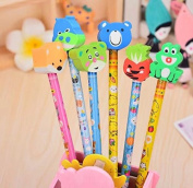 6PCS Creative wood pencils, with rubber type,HB ,design is random