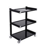 Glass Salon Trolley Hairdressing Beauty Spa Product Display Cabinet by Urbanity Black