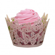 Cake Decoration Supplies,Kingko® 50PC DIY Cupcake Wrappers Butterfly Lace Cup Cake