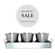 30cm Zinc Herb Pot Trio/Flower Planter Tray/Home Gift/ Kitchen Herb Pot