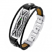 Band For Fitbit Flex 2, Adjustable Replacement Genuine Leather Braided Wristbands Metal Clasp with Rhinestone