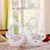 GFEI European Home Furnishing decorative ornaments / Swan crafts lovers study / wedding gift gift set decoration / Gold White Swan,A