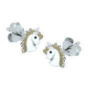 Sterling Silver Unicorn Earrings - Gold Coloured Hair