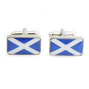 A Pair Of Unique Scottish Flag Cufflinks WITH PRESENTATION GIFT BOX - Solid Brass - Rhodium Plated Finish - Shipped From The UK!