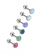 6 Pieces Stainless Steel Opal Stud Earring Barbell Piercing Earrings Body Jewellery for Tragus Cartilage, 6 Colours, 18 Gauge