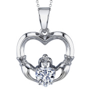 Metal Masters Co.® Sterling Silver Cubic Zirconia Celtic Irish Love Heart Hand Claddagh Pendant Necklace 46 cm Free Rolo Chain