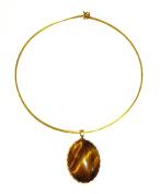 Vintage Style Oval Tigers Eye Pendant on a Brass Circle Choker Necklace