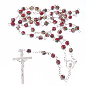 Catholic red green white cloisonne rosary beads silver colour chain + crucifix