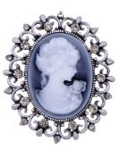 Alilang Cameo Maiden Maid Cameo Rose Black Diamond Coloured Crystal Rhinestone Brooch Pin