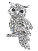 Winter Snow Owl Bird Hooting Clear AB Crystal Rhinestone Silvery Tone Pin Brooch