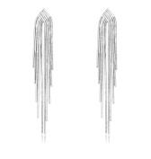 KristLand - Fashion 925 Sterling Silver Chain Tassel Long Dangle Drop Stud Earrings Party Weddings Bridal Woman Jewellery