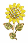 AnaZoz Fashion Jewellery Unisex Brooch Stainless Steel Sunflower Brooches and Pins Wedding Brooch