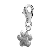 FASHIONS FOREVER® 925 Sterling Silver Playful Puppy Paw Clip-on Charm, Handmade in UK