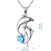 Jewellery for Women Best Valentine Gift for Women 925 Sterling Silver Dolphin Pendant Necklace Blue Herat Cubic Zircon Necklace 46cm