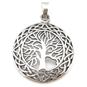 Solid Sterling Silver Tree of Life Yggdrasill Pendant Pagan