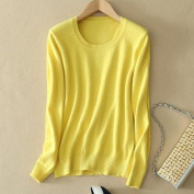 Zeuxs Women O-neck Cashmere Sweater Long Sleeves Pure Colour Pullover Blouse Jumper