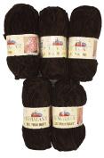 5 x 100 g Himalayan Dolphin Knitting Wool/Yarn Baby Wool 80343 Dark Brown 500 Gramme Super Bulky