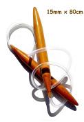 "One Pair Big Size 15mm x 80cm (32"") Jumbo Carbonised Bamboo Circular Knitting Needles"